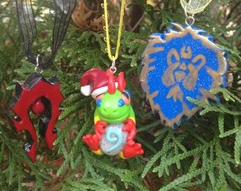 World of Warcraft Inspired: Festive Murloc, Horde Symbol and Alliance Symbol Holiday Ornaments!