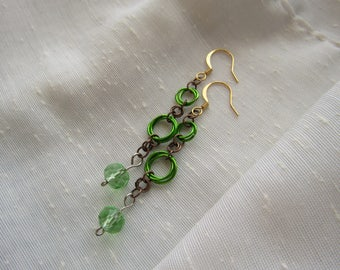 Green Rosette Chanmaille Earrings