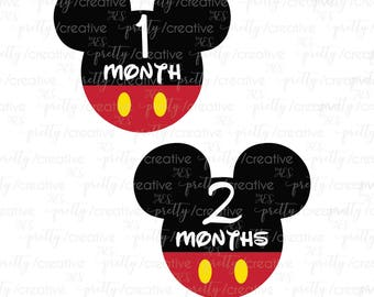 Month by Month Baby Stickers - Mickey Mouse Disney Inspired