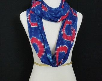 "Tie Dye Scarf | ""Donuts"" Circle Scarf in Rayon (Hand Dyed) 