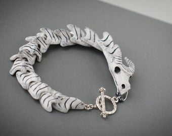White Dragon Bracelet Dragon skull skeleton Fantasy jewelry