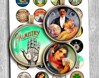 Palmistry Fortune tellers 20 mm 25 mm 1 inch 1.5 inch Printable Round images Digital Collage Sheet Printable Download