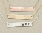 Engravable Gold, Silver or Rose Gold Bar Necklace, Engraved Bar Necklace,  Personalized Bar Necklace, Valentines Day