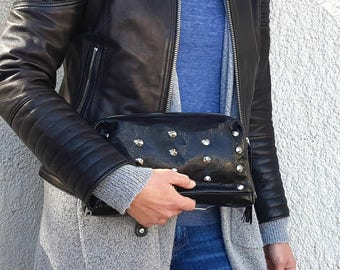 Black Leather Clutch Purse - Studded Evening Bag