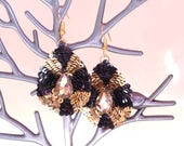 Earrings drop-shaped  beads sequins. Reserved