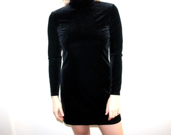 90's Black Long Sleeve Velvet Turtleneck Mini Dress