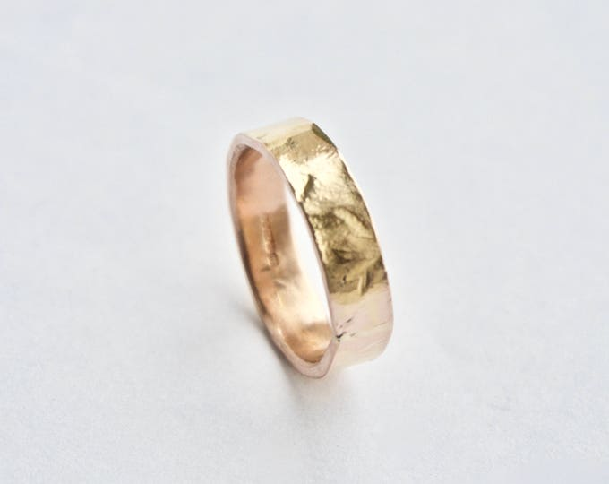 Rose Gold Hammered Ring - 18 Carat - Flat Hammer Textured