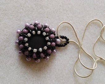 Black and Purple Beaded Pendent glass center Sterling Silver Necklace