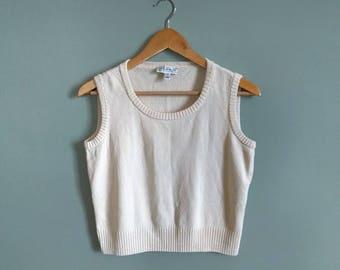 vintage 90's cropped wool blend vest in cream