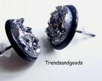 Druzy Drusy Silver MoonFake Plugs Stud Earrings  Black Faux Plugs FP 069