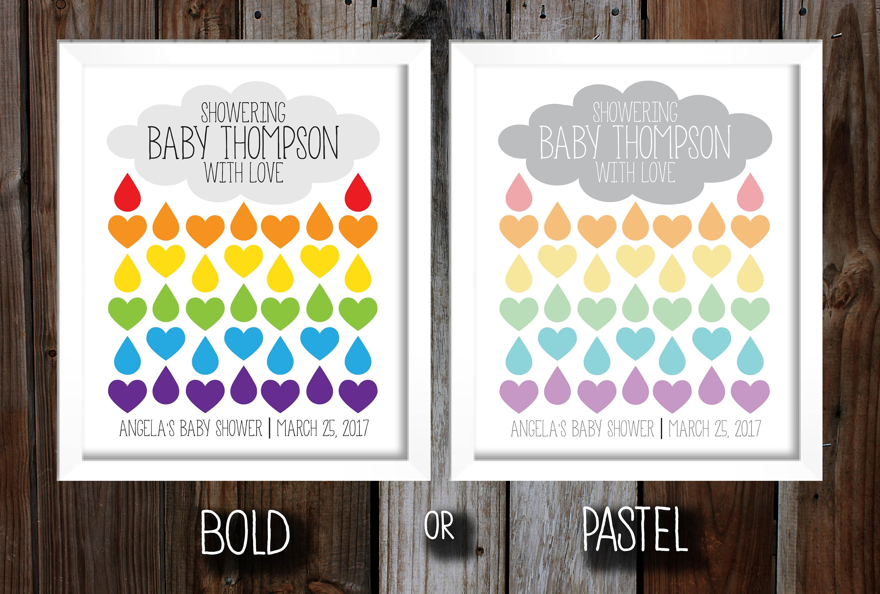 DIY Printable Rainbow Baby Shower Guest Sign In Poster Guest