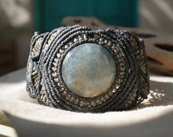 Bule Onyx Macramé Bracelet / Natural Jewelry