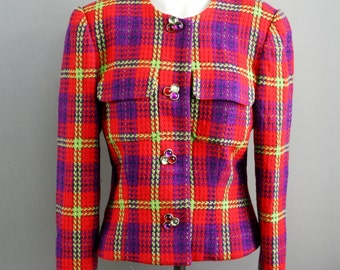 Pop Of Color - Scaasi  Wool Jacket - Size 10