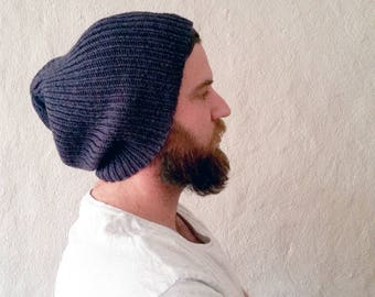 Ready to Ship - Slouchy Wool Beanie Hat in Midnight Blue - Mens, Womens, Teens