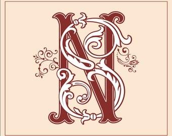 Vintage Monogram NS,SN | Wedding logo | Wedding Clip Art