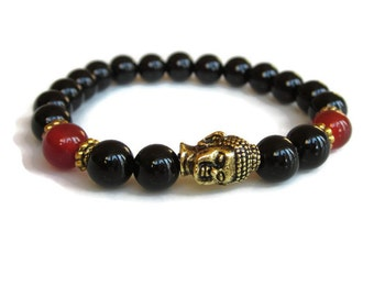 Buddha bracelet, Black onyx carnelian bracelet, black bead bracelet, layering bracelet jewellery