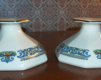 Vintage Lenox Autumn Fine Ivory China PAIR Candlesticks/Candleholders- Octagonal Base Design made in USA