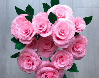 Crepe Paper Roses - pink handmade bunch of 12 roses - 35cm wired stems with leaves, beautiful for weddings or a gift