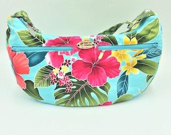 Hobo Bag, Handbag, Sling Bag, Slouchy Bag, Tropical Bag, Large Purse in Tropical Floral Print - Made in Maui