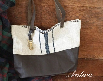 European Grainsack and Leather Tote Bag