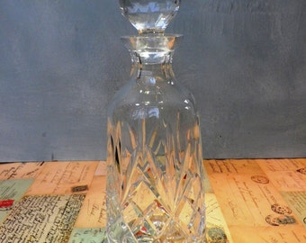Vintage Decanter Pressed Glass Decanter 1970's Barware