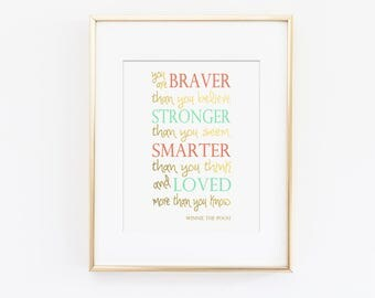 Winnie the Pooh Quote, You Are Braver Than You Believe Nursery Art Print, Kids Wall Art, Mint Nursery Art, Coral Nursery, Printed Wall Art