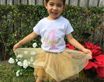 Personalized Birthday Girl  T-Shirt Glitter Gold Name and Pink Age