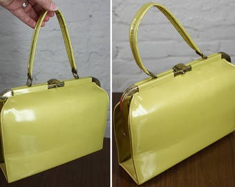 Vintage 50s Purse Yellow Pearl Patent Leather Kelly Bag Handbag