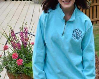 Monogrammed Quarter Zip COMFORT COLORS pullover-- NEW for 2017  !!!!!