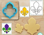 Fleur de Lis Cookie Cutter, Flower Cutter & Ghost Cookie Cutter Designed by Whisked Away Cutters - *Guideline Sketch to Print Below*