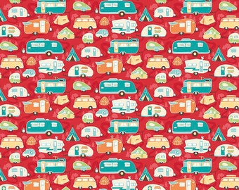 Road Trip, Riley Blake, C5622 Red, Retro Camper Quilt Fabric, Travel Trailer, RV, Glamping Fabric, VW, Camping Fabric, Kelly Panacci, Cotton