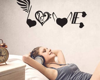 Music, love sign decal, music note, music decor, music decal, music gifts, music lover gift, music wall art, music wall decal, studio decor