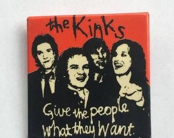 The Kinks Original 1980s NOS Vintage Square Pin