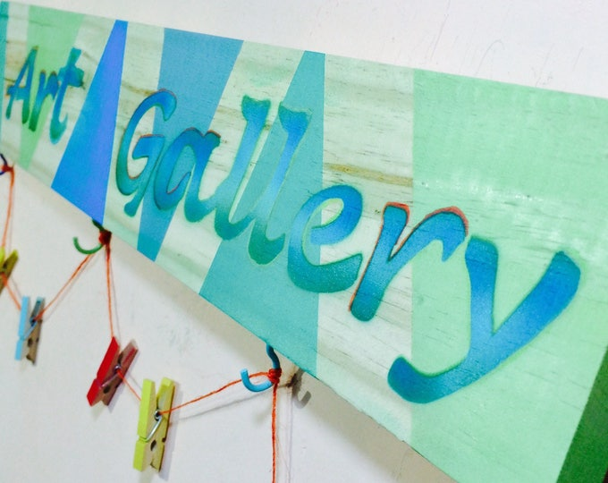 Kids art work display /Child's Artwork hanger /masterpieces Personalized decor Children's room custom name sign colorful clothespin clips