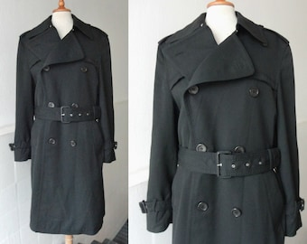 Black 70s Vintage Mens Trenchcoat // Exclusive Melka All Weather Coat // Lined // Size 48