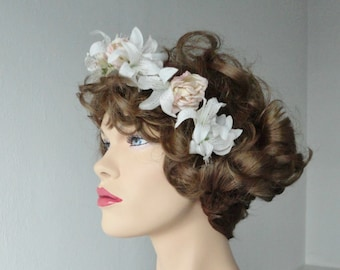 Hand Made Flower Headpiece With Lilies And Pink Roses