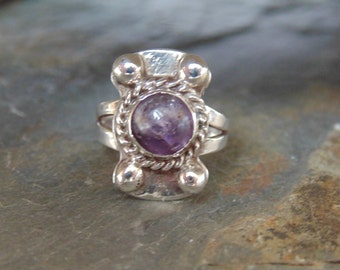Mexico Silver ~ Vintage Amethyst Cab Ring - Size 4  c. 1930's