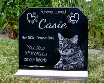 Pet Memorial Stone Personalized Garden Stone with Optional *Base Stand* YOUR Pets Photo Heavy Composite Stand Indoor/Outdoor Your Pets PHOTO