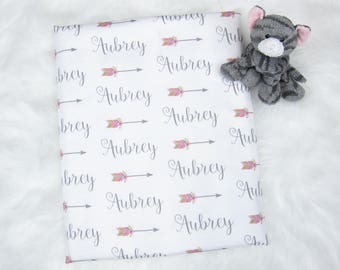 Personalized Swaddle Blanket | Personalized Baby Girl Blankets Baby Blanket Girl Baby Name Blanket Newborn Swaddle- Steel Arrow Flower