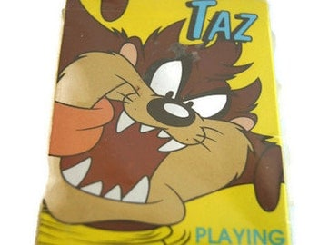 Vintage 1996 TAZ Playing Cards New Sealed Game Rules Included Looney Tunes Warner Bros Made in USA The Tasmanian Devil Cartoons NOS