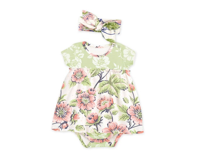 Baby Girl Summer Dress, Newborn Girl Coming Home Outfit Summer, Baby Skirted Bodysuit, Baby Vintage Floral Bodysuit TesaBabe BH58SPFRG0000