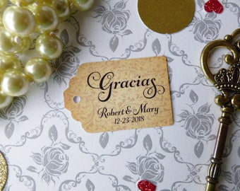 Gracias Tags, Spanish Thank You Tags, Custom Wedding Tags, Favor Tags. Bridal Tags. Quinceanera Tags. Set of 25 to 300 pieces