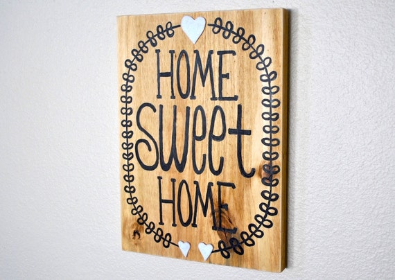 Home sweet home wall decor painted wood sign word art Home sweet home wall decor