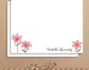 Flat Note Cards - Lily Note Cards - Floral Thank You Cards- Personalized Floral Stationery - Floral Note Cards