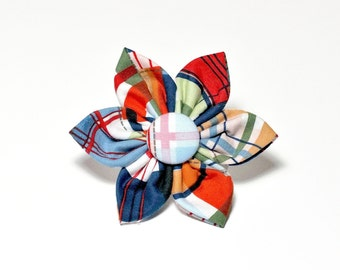 Coastal Plaid Flower ONLY for Dog collar, Cat collar, collar flower, pet collar flower, wedding flower, flowers for dog collars