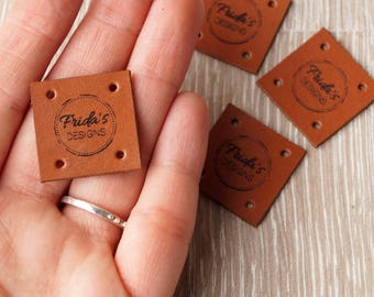 Custom clothing labels - leather labels - personalized leather tags - knitting labels - crochet tags - clothing tags - logo tags, set of 25