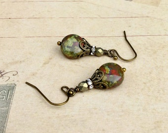 Brown Earrings, Gold Earrings, Pink Earrings, Green Earrings, Antique Gold Earrings, Czech Glass Beads, Unique Earrings, Womens Earrings