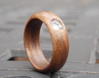Men's Or Women's Walnut wood ring with natural round Quartz stone wood ring any size