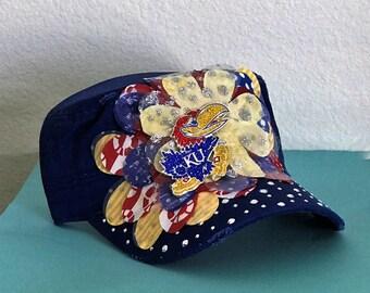 Women's Hand-Decorated University of Kansas Jay Hawk Military Style Hat