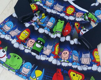 Mr Hero Men 12-18m OOAK Dress, Summer Dress, toddler dress, twirly dress, handmade, crossover dress, Mr Men, Superhero